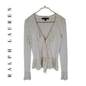 Ralph Lauren Black Label Ruffle Front Cardigan M